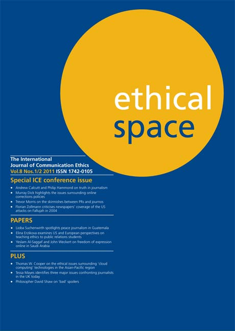 Ethical Space Vol. 8 Issue 1/2